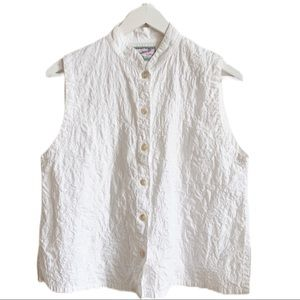 April Cornell White Cotton Embroidery Top Tank M